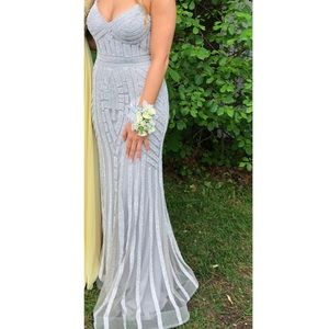 Silver sparkly prom dress